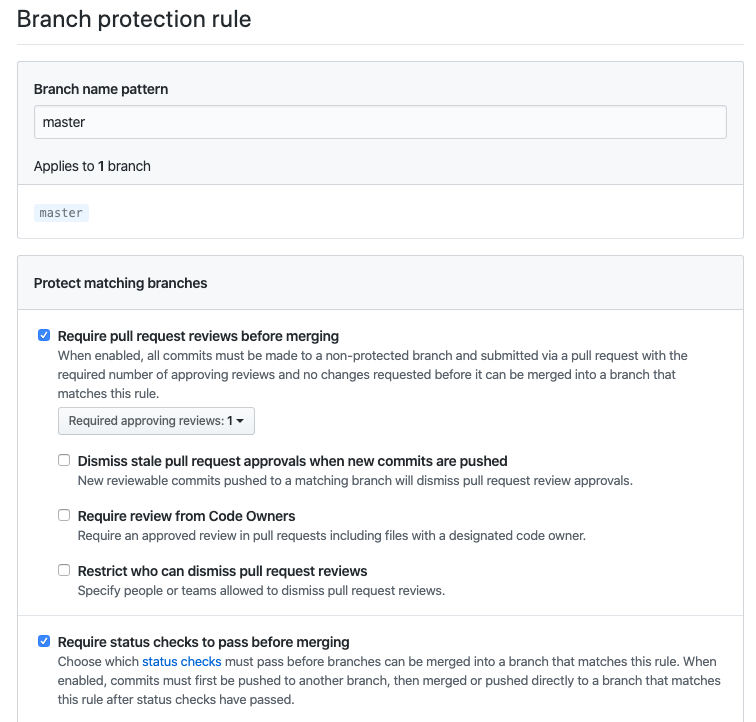 Example of GitHub branch protection rules