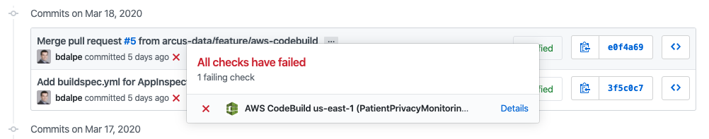 GitHub commit history showing failed builds