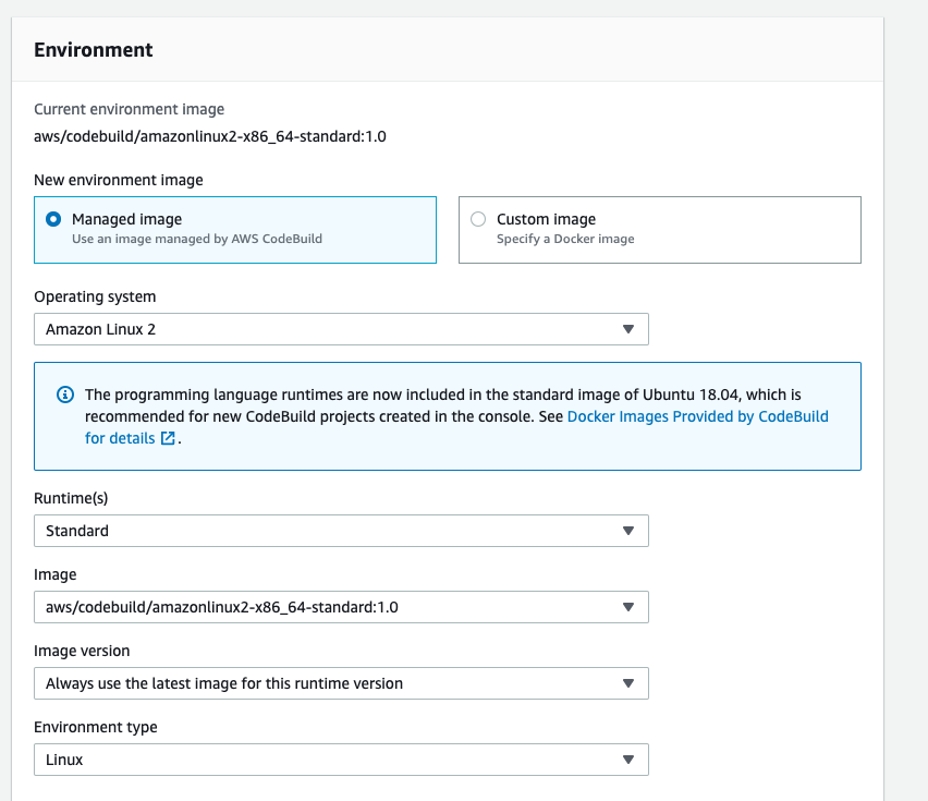 Environment settings for AWS CodeBuild