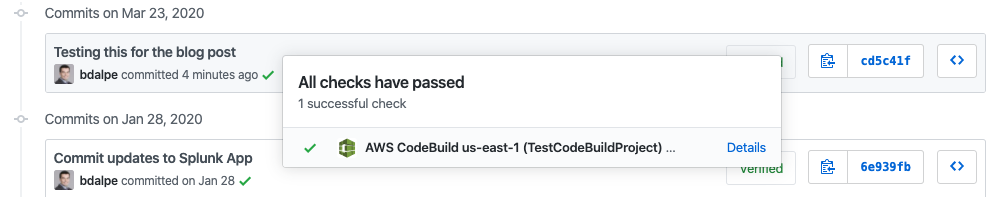GitHub commit history showing passed status