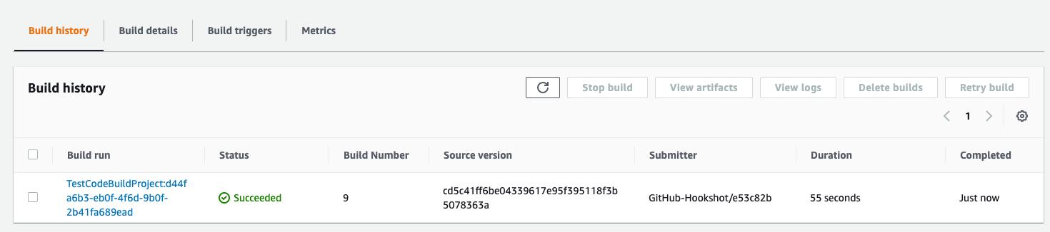 AWS CodeBuild build history